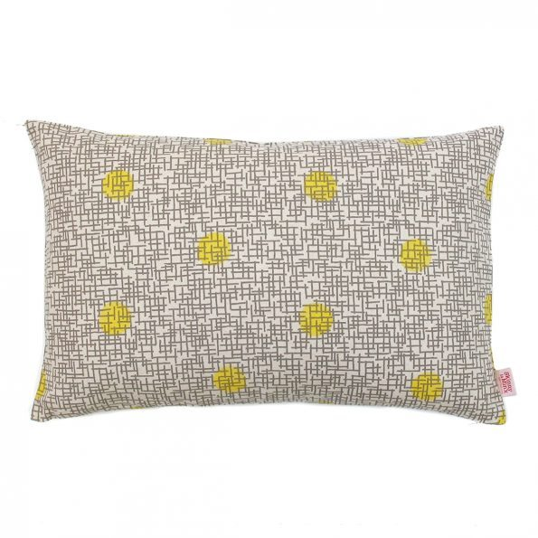 Skinny Laminx Cushion Cover Gridly Lemon Fog